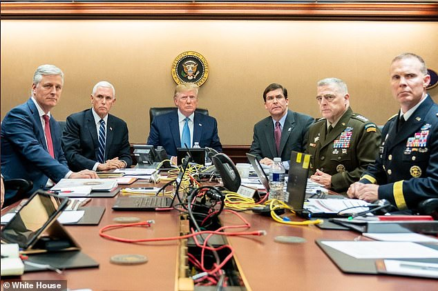 Meeting in the situation room Saturday night (from left to right): National Security Advisor Robert O'Brien, Vice President Mike Pence, Trump, Secretary of Defense Mark Esper and Joint Chiefs of Staff U.S. Army General Mark Milley and Brig. General Marcus Evans